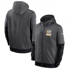 Wholesale Cheap Green Bay Packers Nike Sideline Impact Lockup Performance Full-Zip Hoodie Charcoal