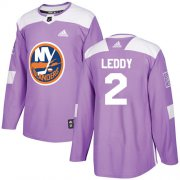 Wholesale Cheap Adidas Islanders #2 Nick Leddy Purple Authentic Fights Cancer Stitched NHL Jersey