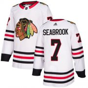Wholesale Cheap Adidas Blackhawks #7 Brent Seabrook White Road Authentic Stitched Youth NHL Jersey