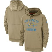 Wholesale Cheap Men's Los Angeles Chargers Nike Tan 2019 Salute to Service Sideline Therma Pullover Hoodie