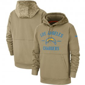 Wholesale Cheap Men\'s Los Angeles Chargers Nike Tan 2019 Salute to Service Sideline Therma Pullover Hoodie