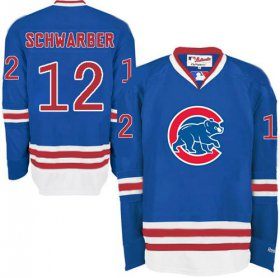 Wholesale Cheap Cubs #12 Kyle Schwarber Blue Long Sleeve Stitched MLB Jersey