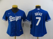 Wholesale Cheap Women's Los Angeles Dodgers #7 Julio Urias Blue Stitched MLB Cool Base Nike Jersey