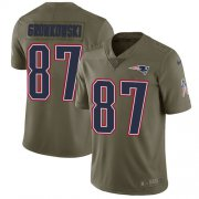 Wholesale Cheap Nike Patriots #87 Rob Gronkowski Olive Youth Stitched NFL Limited 2017 Salute to Service Jersey