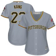 Wholesale Cheap Pirates #27 Jung-ho Kang Grey Road Women's Stitched MLB Jersey