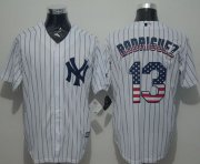 Wholesale Cheap Yankees #13 Alex Rodriguez White Strip USA Flag Fashion Stitched MLB Jersey