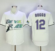Wholesale Cheap Mitchell And Ness Rays #12 Wade Boggs White Throwback Stitched MLB Jersey