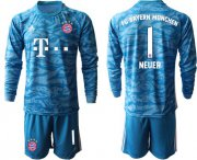 Wholesale Cheap Bayern Munchen #1 Neuer Light Blue Goalkeeper Long Sleeves Soccer Club Jersey