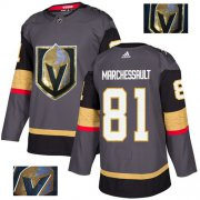 Wholesale Cheap Adidas Golden Knights #81 Jonathan Marchessault Grey Home Authentic Fashion Gold Stitched NHL Jersey