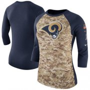 Wholesale Cheap Women's Los Angeles Rams Nike Camo Navy Salute to Service Legend Three-Quarter Raglan Sleeve T-Shirt