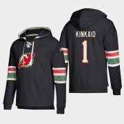 Wholesale Cheap New Jersey Devils #1 Keith Kinkaid Black adidas Lace-Up Pullover Hoodie