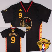 Wholesale Cheap Men's Golden State Warriors #9 Andre Iguodala Chinese Black Fashion 2016 The NBA Finals Patch Jersey
