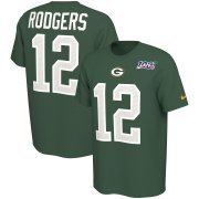 Wholesale Cheap Green Bay Packers #12 Aaron Rodgers Nike NFL 100th Season Player Pride Name & Number Performance T-Shirt Green