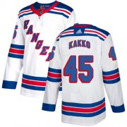 Wholesale Cheap Adidas Rangers #45 Kappo Kakko White Road Authentic Stitched NHL Jersey