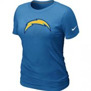 Wholesale Cheap Women's Nike Los Angeles Chargers Logo NFL T-Shirt Light Blue