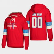 Wholesale Cheap Washington Capitals Personalized Lace-Up Pullover Hoodie Red