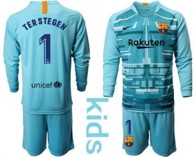Wholesale Cheap Barcelona #1 Ter Stegen Light Blue Goalkeeper Long Sleeves Kid Soccer Club Jersey