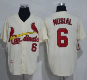 Wholesale Cheap Mitchell And Ness 1963 Cardinals #6 Stan Musial Cream Throwback Stitched MLB Jersey