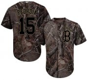 Wholesale Cheap Red Sox #15 Dustin Pedroia Camo Realtree Collection Cool Base Stitched Youth MLB Jersey