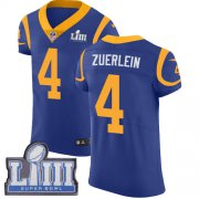 Wholesale Cheap Nike Rams #4 Greg Zuerlein Royal Blue Alternate Super Bowl LIII Bound Men's Stitched NFL Vapor Untouchable Elite Jersey