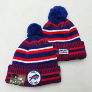 Wholesale Cheap Bills Team Logo Red Royal 100th Season Pom Knit Hat YD
