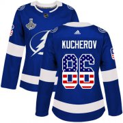 Cheap Adidas Lightning #86 Nikita Kucherov Blue Home Authentic USA Flag Women's 2020 Stanley Cup Champions Stitched NHL Jersey
