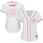 Wholesale Cheap Indians #25 Jim Thome White/Pink Fashion Women's Stitched MLB Jersey
