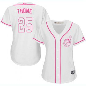 Wholesale Cheap Indians #25 Jim Thome White/Pink Fashion Women\'s Stitched MLB Jersey