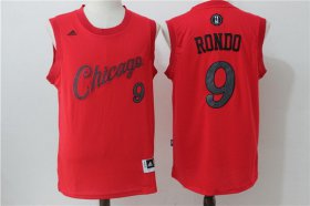 Wholesale Cheap Men\'s Chicago Bulls #9 Rajon Rondo adidas Red 2016 Christmas Day Stitched NBA Swingman Jersey