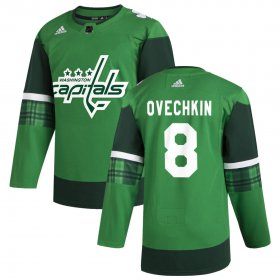 Wholesale Cheap Washington Capitals #8 Alex Ovechkin Men\'s Adidas 2020 St. Patrick\'s Day Stitched NHL Jersey Green