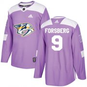 Wholesale Cheap Adidas Predators #9 Filip Forsberg Purple Authentic Fights Cancer Stitched NHL Jersey