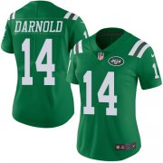 Wholesale Cheap Nike Jets #14 Sam Darnold Green Women's Stitched NFL Limited Rush Jersey