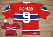 Wholesale Cheap Canadiens #9 Henri Richard Stitched Red CH CCM Throwback NHL Jersey