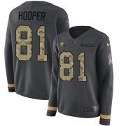 Wholesale Cheap Nike Browns #81 Austin Hooper Anthracite Salute to Service Women's Stitched NFL Limited Therma Long Sleeve Jersey