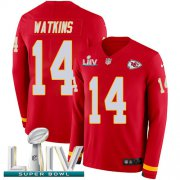 Wholesale Cheap Nike Chiefs #14 Sammy Watkins Red Super Bowl LIV 2020 Team Color Youth Stitched NFL Limited Therma Long Sleeve Jersey