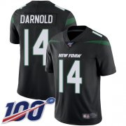 Wholesale Cheap Nike Jets #14 Sam Darnold Black Alternate Youth Stitched NFL 100th Season Vapor Limited Jersey