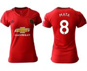 Wholesale Cheap Women's Manchester United #8 Mata Red Home Soccer Club Jersey