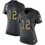 Wholesale Cheap Nike Falcons #12 Mohamed Sanu Sr Black Women's Stitched NFL Limited 2016 Salute to Service Jersey