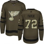 Wholesale Cheap Adidas Blues #72 Justin Faulk Green Salute to Service Stitched NHL Jersey