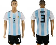 Wholesale Cheap Argentina #3 Fazio Home Soccer Country Jersey