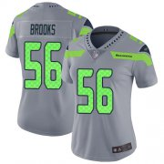 Wholesale Cheap Nike Seahawks #56 Jordyn Brooks Gray Women's Stitched NFL Limited Inverted Legend Jersey