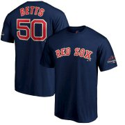 Wholesale Cheap Boston Red Sox #50 Mookie Betts Majestic 2019 Gold Program Name & Number T-Shirt Navy