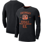 Wholesale Cheap Men's Cincinnati Bengals Nike Black 2019 Salute to Service Sideline Performance Long Sleeve Shirt