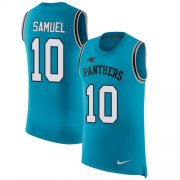 Wholesale Cheap Nike Panthers #10 Curtis Samuel Blue Alternate Men's Stitched NFL Limited Rush Tank Top Jersey