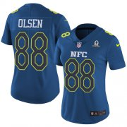 Wholesale Cheap Nike Panthers #88 Greg Olsen Navy Women's Stitched NFL Limited NFC 2017 Pro Bowl Jersey