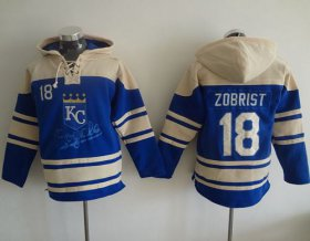 Wholesale Cheap Royals #18 Ben Zobrist Light Blue Sawyer Hooded Sweatshirt MLB Hoodie