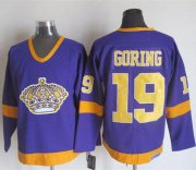 Wholesale Cheap Kings #19 Butch Goring Purple/Yellow CCM Throwback Stitched NHL Jersey