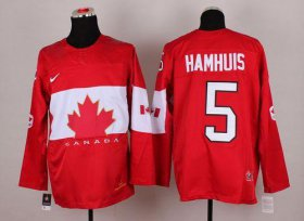 Wholesale Cheap Olympic 2014 CA. #5 Dan Hamhuis Red Stitched NHL Jersey