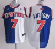 Wholesale Cheap New York Knicks #7 Carmelo Anthony Revolution 30 Swingman Blue/White Two Tone Jersey