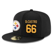 Wholesale Cheap Pittsburgh Steelers #66 David DeCastro Snapback Cap NFL Player Black with Gold Number Stitched Hat